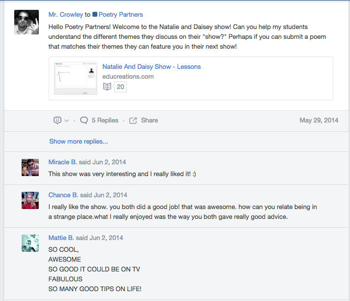 Mr. Crowley's class posted a video of their own, and we all provided feedback.