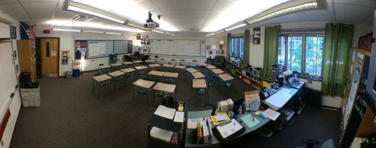 U-shaped desks for easy conversion to Socratic Seminar discussion.
