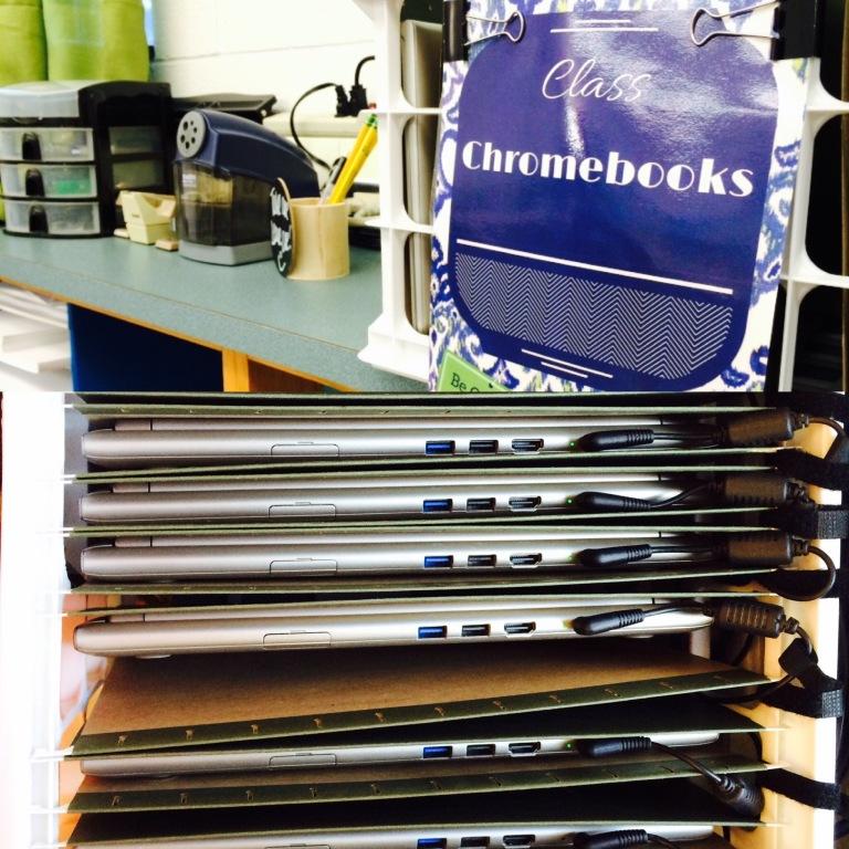 Chromebooks in Hanging folders